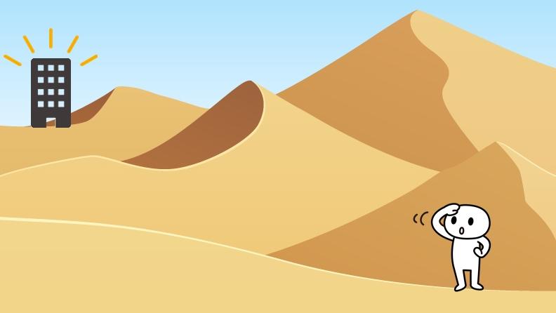 砂漠のど真ん中に事務所を構えている状態